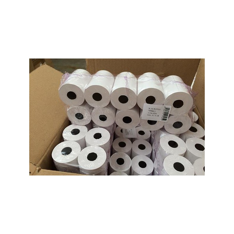 10x Rotolo per POS in carta termica mm 57 x 15 mtl
