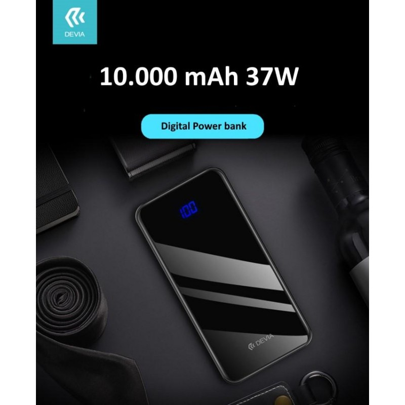 Power Bank Slim 10.000 mah Digitale 3 Uscite 37W Nero