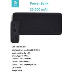 Power Bank 20.000 mah ingresso 5V 1.5A Uscite 3 per 5V-2.1A