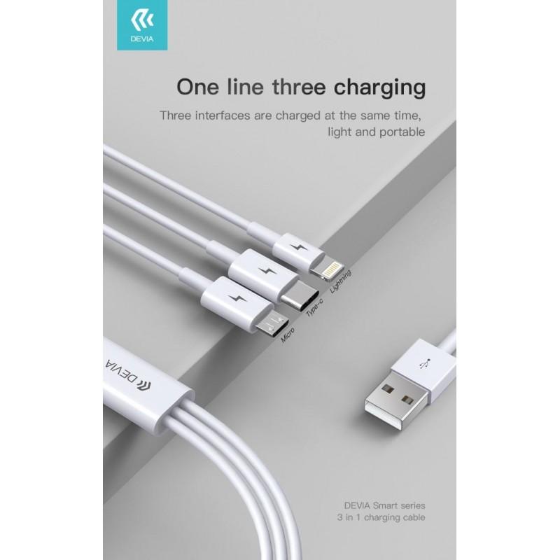 Cavo ricarica 3in1 da USB a Micro - Tipo-C - Lightning 1,2m