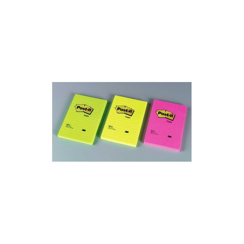 Post-it® Notes Large colori Neon a righe 152X102mm - 6 pz.